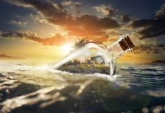 Заход солнца в бутылке обои HD