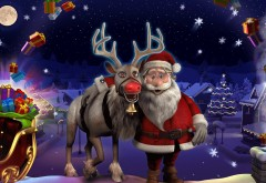 Санта Клаус, Merry Christmas, зима, огни, праздник, олень, арт, Н…