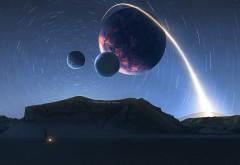 Звездный след, космос, планеты, спутники, звезды