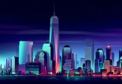 Нью-Йорк, городской пейзаж, ночь, неон, рисунок