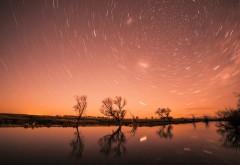 Звезды, закат, озеро, природа