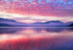 Розовые облака Пейзаж 4K обои