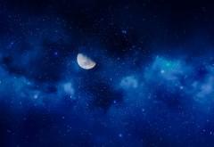 Лунное звездное небо обои 4K