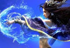 Сказочная фентези девушка колдунья на синем фоне