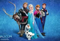 Все герои мультфильма Холодное сердце на снежном фоне