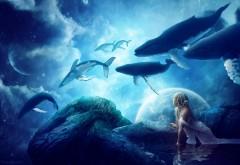 Фэнтези киты в небе на синем фоне