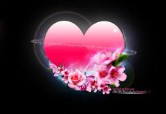 Сердце и цветы на черном фоне