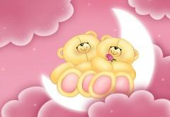 Любовь, медвежата на луне в розовых облаках