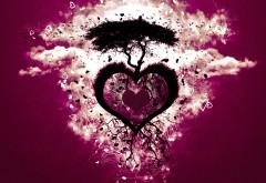 Темно красное сердце в небе с деревом