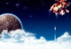 Обои космоса в небе, планета и астероид
