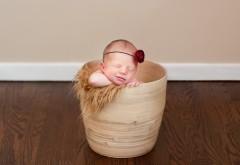 Маленький малыш спит в корзинке по среди комнаты