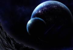 Две голубые планеты в открытом космосе обои