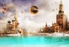 Фэнтези обои города Москвы 3D, 3Д обои
