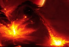 Обои космоса горящие астероиды падают на планету