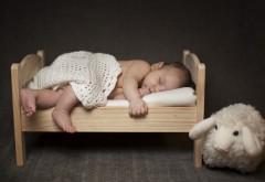 Обои спящего малыша в кроватке с мягкой игрушкой