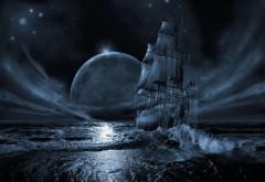 Фэнтези обои голубой луны и корабля в море