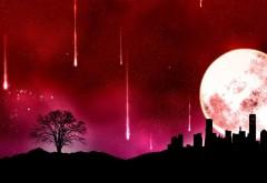 Абстрактные обои космоса, красное небо