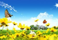 Фэнтези природа, желтые цветочки, цветы, насекомые