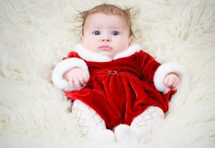 Голубые глазки, красная пижамка, ребенок, настроение