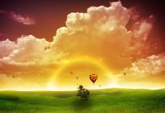 Желтое небо, закат, воздушный шар, 3Д, 3D, фэнтези