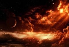 Космос, небо, фэнтези, звезды, планета