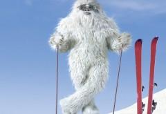 Обои снежного человека на лыжах