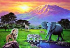 Обои нарисованные савана лев, жираф, слон, зебры, гепар�…