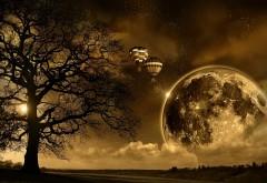 Фэнтези природа, воздушные шары, луна, 3d природа обои