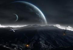 Фэнтези космос, воздушная война обои скачать