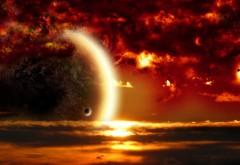 Обои планеты в пылающем небе с астероидами обои