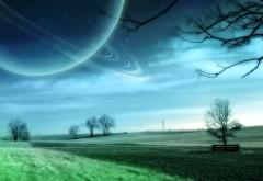 Большая планета над полем фэнтази картинки