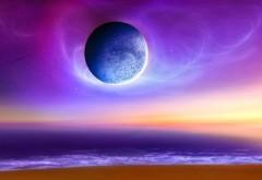 Красивые обои планеты на фоне фиолетового неба обои