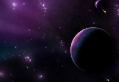 Обои космос на фоне фиолетового неба бесплатно