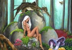 Фантастика, арт, девушка, амазонка, белые волосы, взгляд, поза, яйцо, динозавр, детеныш, лес, грибы