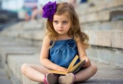 Девочка, книга, настроение, ребенок