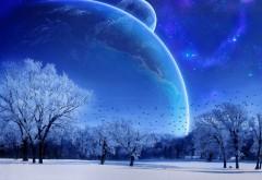 3Д, 3d, фэнтези, зима, снег, космос, планеты, деревья