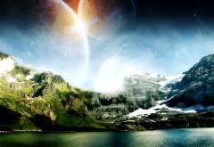 Фэнтези, природа, планеты, 3d, озеро, солнце, горы, снег