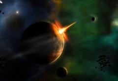 Взрыв на планете в космосе обои широкоформатные