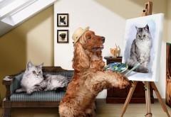 Художник, мольберт, кокер спаниель, собака, картина кота