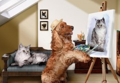 Худодник, мальберт, кокер спаниэль, собака, картина кот…