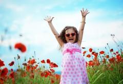 Девочка, дети, радость, смех, поле, маки, трава, природа, …