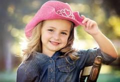 Ребенок, девочка, улыбка, шляпка, настроение