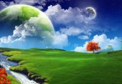 Фэнтези, трава, 3d, природа, зелень, небо, звезды