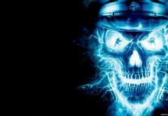 Синий череп широкоформатные обои