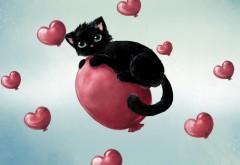 Рисованный черный кот на воздушнам шаре из сердечек