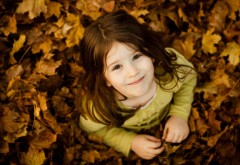 Осень, девочка, улыбка, ребенок, улица