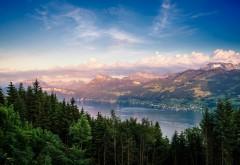 Лето, горы, лес, озеро hd фоны