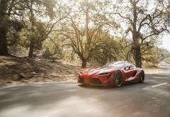 Красный спортивный автомобиль в лесу