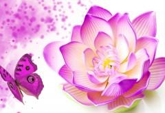 Лотус цветок и яркая бабочка