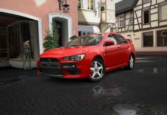 Митсубиси (Mitsubishi) красный в городе